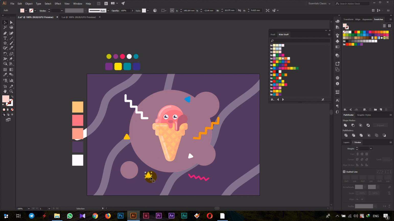 نرم افزار ادوبی ایلستراتور (Adobe Illustrator) بستنی