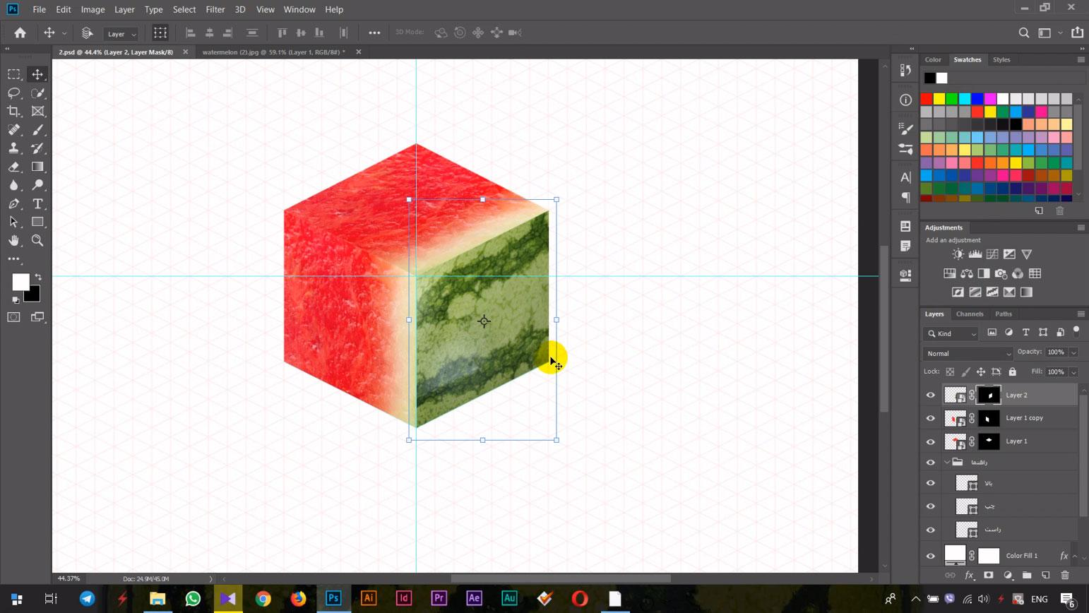 طراحی فتوشاپ ایزومتریک هندوانه